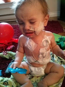 Our happy little boy not wanting us to take his holter monitor off.